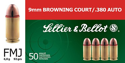 S&B  9mm Browning Court/380Auto 6.0g FMJ